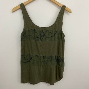 Anthropologie Lilka Distressed Olive Green Tank S